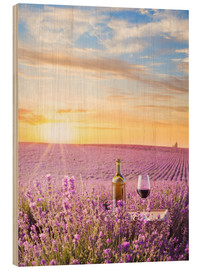 Wood print  Bottle of wine in a lavender field