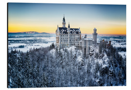 Alu-Dibond  Neuschwanstein in the snow