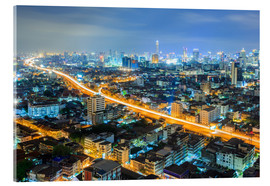 Acrylic print  Bangkok downtown Skyline at night