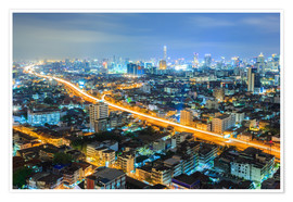 Premium poster Bangkok downtown Skyline at night