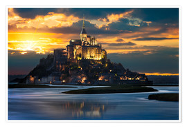 Premium poster  Mount Saint-Michel at sunset