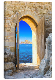Canvas print  Open door in old fortress