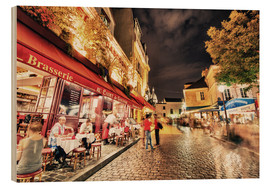 Wood print  Montmartre streets at night