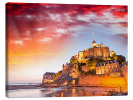Canvas  Stunning sunset over Mont Saint Michel