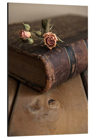 Aluminium print  Dry rose and old book - Jaroslaw Blaminsky
