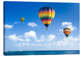 Canvas print  Colorful hot air balloons on the blue sea