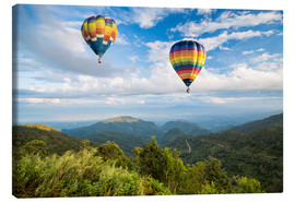 Canvas print  Hot air balloon over the mountains