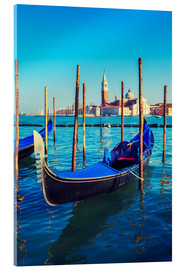 Acrylic print  Gondolas in lagoon of Venice on sunrise