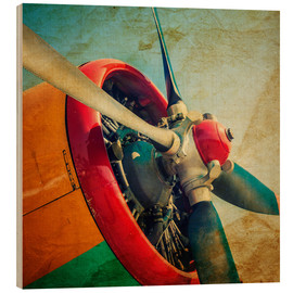 Wood print  Rotor Blades of a Military Plane