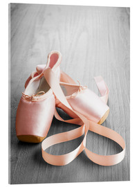 Acrylic glass  pink ballet shoes