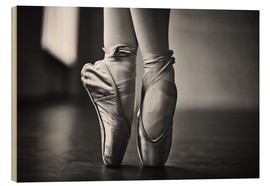 Wood print  Ballerina feet during the trial