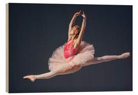 Wood print  Pink Tutu and Pointe Shoes