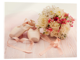 Acrylic print  Ballet shoes with bouquet