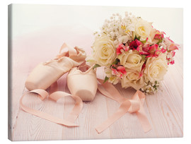 Canvas print  Ballet shoes with bouquet