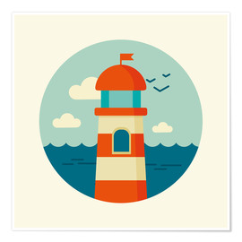 Premium poster Lighthouse in a circle