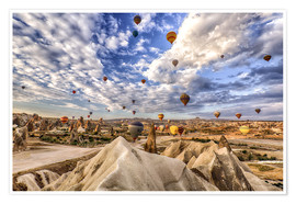 Premium poster  Balloon spectacle Cappadocia - Turkey - Achim Thomae