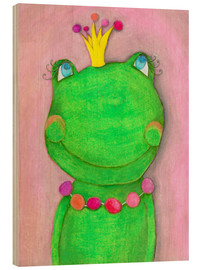 Wood print  The frog queen and the colorful crown - Atelier BuntePunkt
