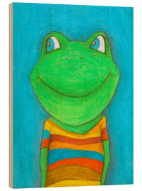 Wood print  Good mood frog - Atelier BuntePunkt