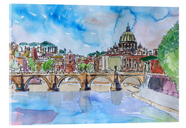 Acrylic glass  Vatican Rome Italy Sunset On River Tiber With St Peter II - M. Bleichner