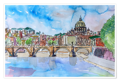 Premium poster Vatican Rome Italy Sunset On River Tiber With St Peter II