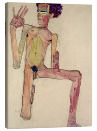Canvas print  Egon Schiele as kneeling nude - Egon Schiele