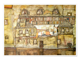 Premium poster  house wall on the river  - Egon Schiele