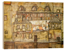Wood print  House on a River (Old House I) - Egon Schiele