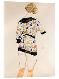 Acrylic print  Standing Woman in a Patterned Blouse - Egon Schiele