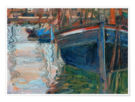 Premium poster  Boats reflected in the water - Egon Schiele