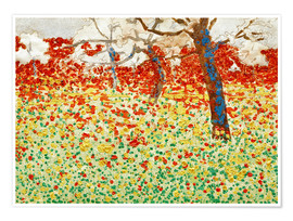 Premium poster Flower meadow with trees