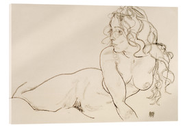 Acrylic print  Supporting herself, Female with long hair - Egon Schiele