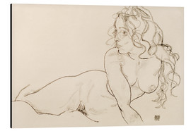 Aluminium print  Supporting herself, female with long hair - Egon Schiele