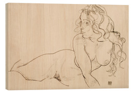 Wood print  Supporting herself, Female with long hair - Egon Schiele