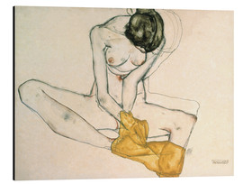 Aluminium print  Seated with yellow cloth - Egon Schiele