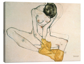 Canvas print  Seated with yellow cloth - Egon Schiele