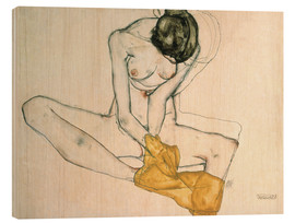 Wood print  Seated with yellow cloth - Egon Schiele