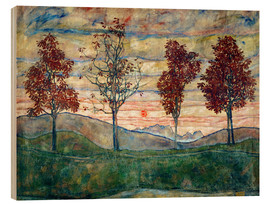 Wood print  Four trees - Egon Schiele