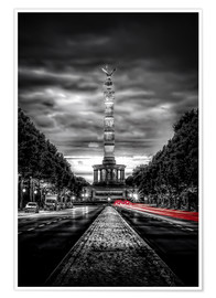 Premium poster  Victory Column Berlin in the evening - Sören Bartosch