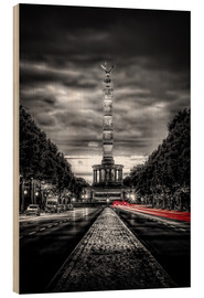 Wood print  Victory Column Berlin in the evening - Sören Bartosch