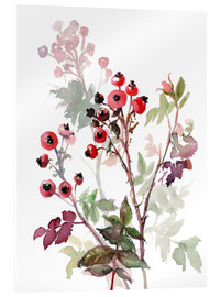 Acrylic print  Rosehips - Verbrugge Watercolor