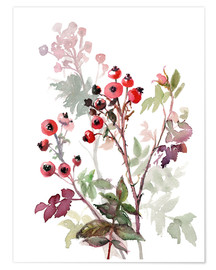 Poster  Rosehips - Verbrugge Watercolor