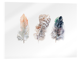 Acrylic glass  3 feathers - Verbrugge Watercolor