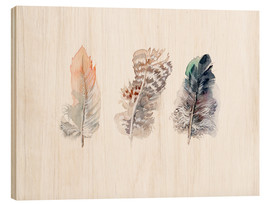Wood print  3 feathers - Verbrugge Watercolor