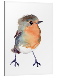 Aluminium print  Baby robin in watercolour - Verbrugge Watercolor