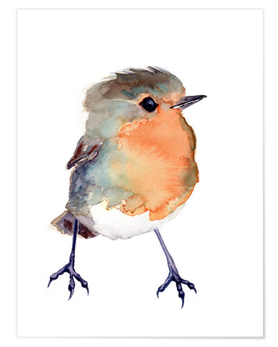 Premium poster Baby robin in watercolour