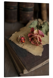 Aluminium print  Old books, ring, letters and dry rose - Jaroslaw Blaminsky