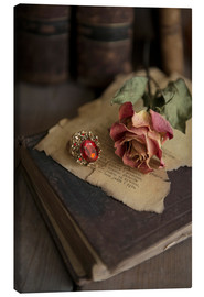 Canvas print  Old books, ring, letters and dry rose - Jaroslaw Blaminsky