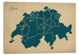 Wood print  Switzerland Modern Map Artwork Design - Ingo Menhard