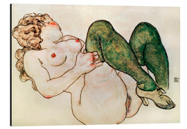 Alu-Dibond  Nude with green stockings - Egon Schiele