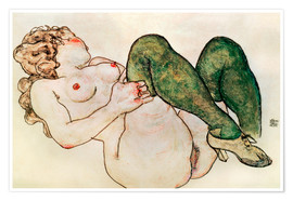 Premium poster  Nude with green stockings - Egon Schiele
